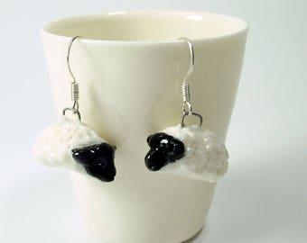 porcelain ceramic blackfaced sheep figurine earrings by Anita Reay ceramic earrings / Suffolk sheep totem / hand sculpted / handmade jewelry