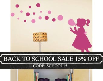Bubble Girl Decal - Children's Vinyl Wall Sticker