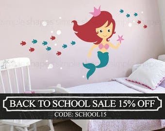 Mermaid Wall Decal - Under the Sea Wall Decal