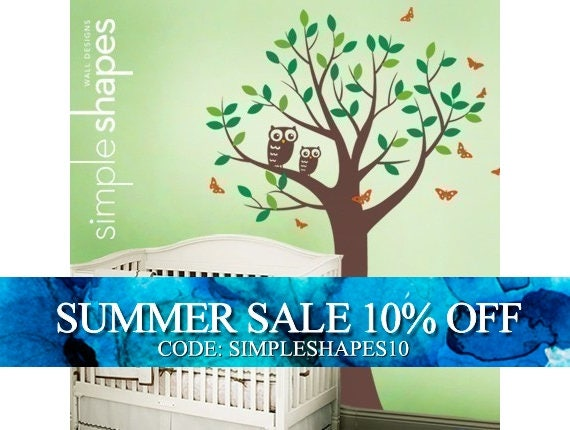 Tree with Two Owls and Butterflies Decal Set - Boy and Girl Kid's Room Wall Sticker