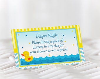 Rubber Duck Diaper Raffle, Yellow Duck Diaper Baby Shower, Diaper Raffle Ticket, Printable Baby Shower, Instant Dowload