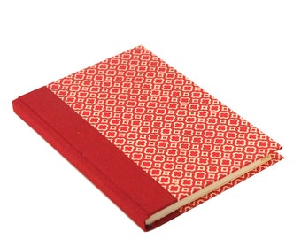Small Address Book with Tabs, red telephone book with quatrefoil pattern, DIN A6, gift idea for friends