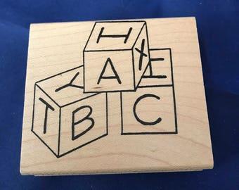 Vintage, A, B, C,Baby Alphabet Blocks, DelRose Stamping Rubber Stamp 1997