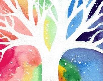Beneath the wild sky - original white tree rainbow sky watercolour painting by klbaileyart