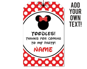 INSTANT DOWNLOAD Minnie Mouse Party Favor Tags (Red) - EDITABLE printable birthday party favor tags