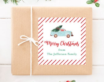 Personalized Christmas Gift Stickers - Watercolor Vintage Truck - Set of 12