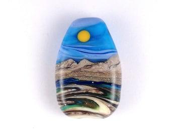 """Focal Bead """"Summer Days"""" Handmade Lampwork Glass Bead Landscape"""