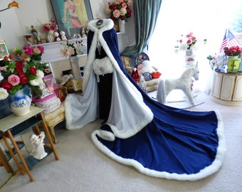 Winter Princess Wedding 52/96-inch Navy Blue / Ivory Satin Bridal Cape Reversible Hooded With  Fur Trim Handmade in the USA