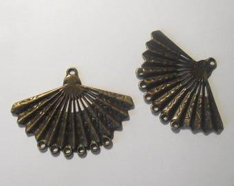 Fan pendant Components 2 piece set Bronze/Brass/Gold Component Destash