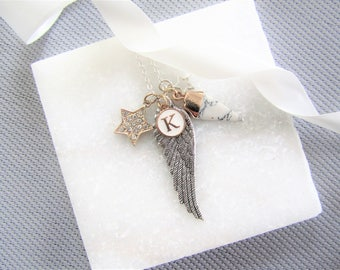 Charm Necklace,Marble,Feather Necklace,Angel Wing,Star Necklace,Initial Letter,Mix Silver and Gold Necklace,Bridesmaids Gifts,Gifts for Her