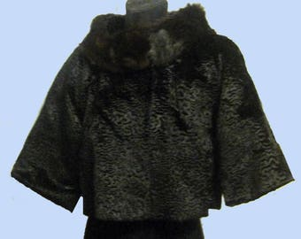 Vintage Late 1950's Early 60's Jackie Box Jacket With Fur collar Sz S