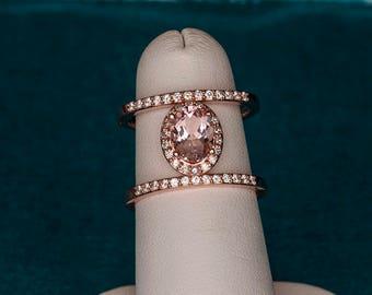 14kt Rose Gold Pink Morganite & Moissanite Statement Ring, Oval Morganite Ring, Cocktail Ring, Morganite Diamond Ring