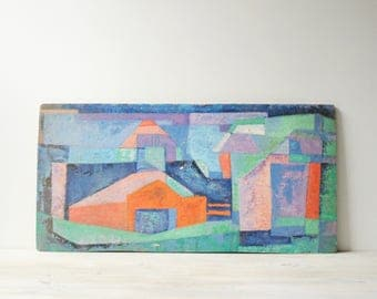 Vintage Modern Abstract Painting, Blue and Orange Cubist Painting