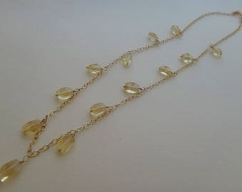 Yellow gemstone necklace yellow and gold necklace citrine necklace citrine dangle gold necklace citrine rectangle dangle necklace handmade
