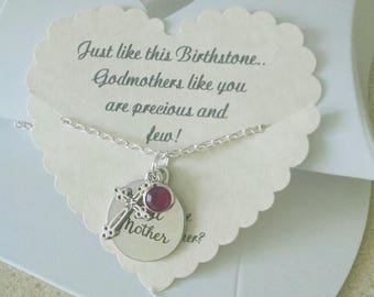 Gift For Godmother, Will You Be My Godmother, Godmother Necklace, Godmother Jewelry, Mothers Day, 18 Inch Silver Plated