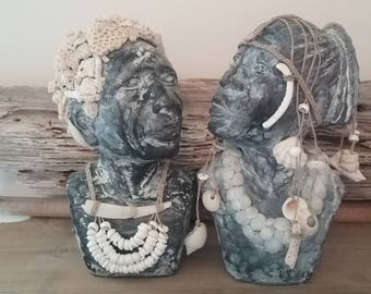 Seashell encrusted bookends African busts male female ethnic tribal beach cottage ocean bohemian Brown white sculpture heads art sea shell