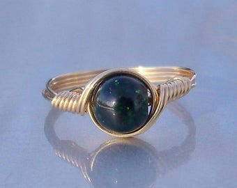 25% Off Sale Green Goldstone 14k Yellow Gold Fill Wire Wrapped Ring Custom Sized