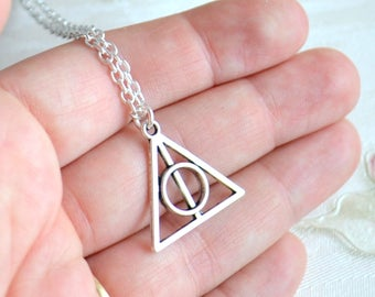 HP inspired necklace Deathly Hallows necklace Harry Potter necklace Luna necklace Silver necklace Best Friend gift BFF necklace Fandom gift