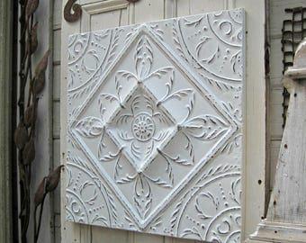 Tin Ceiling Tile,  Vintage Wall Art, Architectural Salvage, Vintage metal wall decor, White pressed tin tile, Framed vintage tin panel,