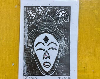 Original ACEO Limited Edition Linoleum Block Print Illustration African Mask