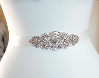 Crystal and pearl Wedding Sash Luxury rhinestone sash in silver, gold or rose gold  - SS14