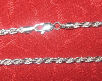 925 Sterling Silver 070 3mm 20 Inch DC Rope Chain