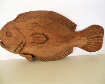 "Large Carved Wooden Fish, Wall Art, Nautical, Beach, 18.5"" x 9"" x 3"""