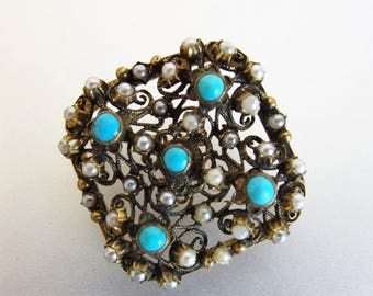 ON SALE Vintage 1930's Brass Turquoise and Faux Pearl Brooch