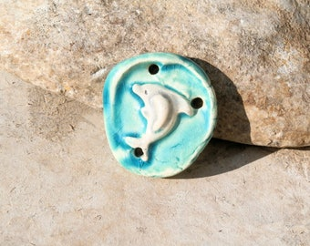 dolphin,connector pendant, handmade earthy supply for jewel