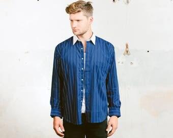 Men Dress Shirt . Striped Blue Shirt Vintage 80s Shirt Button Down Cotton Shirt . size Large