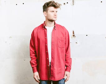 Faded Red Denim Shirt . Men Vintage 90s Grunge Men's Shirt Jacket . size Extra Large XL