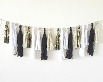 Fabric Tassel Garland, Tassel Garland, Gold Tassel Garland, Lace Garland, Gold and Black Decor, Boho Garland, Black and White Garland,