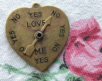 Steampunk Heart Necklace Pendant, Spinner Love Meter Yes No Brass OX Spin Arrow Moves , vintagerosefindings, Valentines day, #G78B