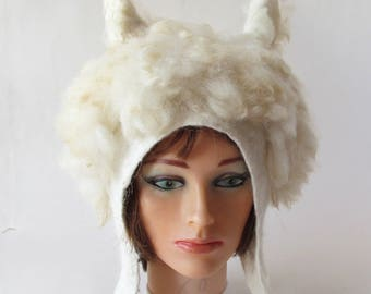 Felted hat Cream Alpaca hat  White animal hat Felt warm hat white Wool Hat Winter Warm felt hat outdoors gift   ski hat