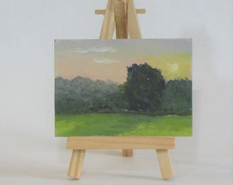 Aceo, artist trading cards, original oil, landscape, tree paintings