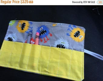 Sale Late summer SALE Crayon Roll up monsters