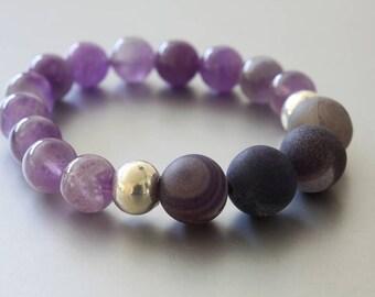 Amethyst and Druzy Stone Stretch Bracelet - Purple Gemstone Bracelet - Fall Bracelet - Real Druzy Stone Bracelet - Amethyst Bracelet