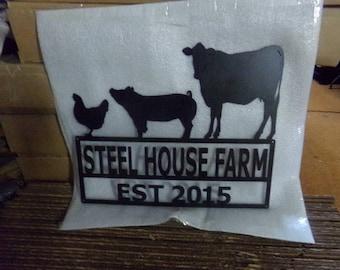 Cow Pig Chicken Metal Custom Farm Sign