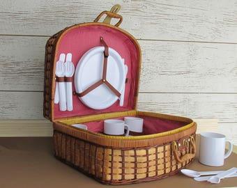 Vintage Picnic Basket - Red/White Gingham