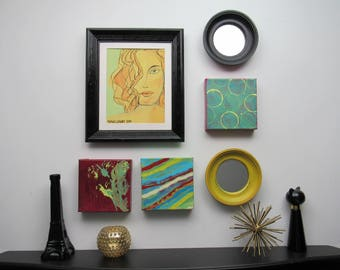 wall gallery - Abstract Boho Girl- 6 pc vintage  wall art with mirrors- feng shui