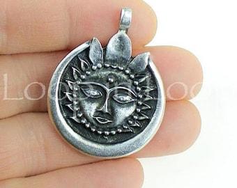 25%OFF Surya Sun God Pendant Celestial charm Hindu Zen Yoga Meditation Thai Bohemian antique silver large Greek disk metal casting findings