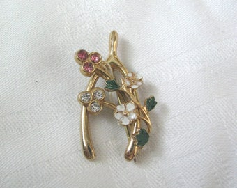 Gold tone wishbone brooch pin with white flowers and pink rhinestones Vintage pin Vintage brooch