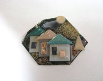 Geometric house pin brooch by Lucinda shades of green and gold