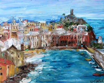 Vernazza Italy abstract painting original oil on canvas palette knife 12x16 impressionism fine art by Karen Tarlton