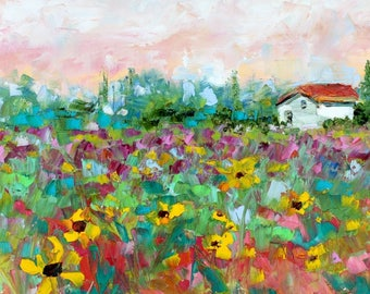 Provence painting in oil palette knife abstract impressionism on canvas 10x20 fine art by Karen Tarlton