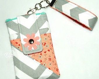 Chevron Phone Case with Wristlet and Optional Shoulder Strap Grey & Nectarine Floral Coral Pink  Aqua Red - Hearts Birds