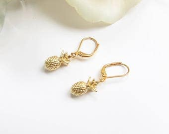 Gold Pineapple Earrings With Leverback Hypo Allergenic Hooks