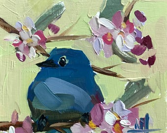 Bluebird no. 106 Original Oil Painting by Angela Moulton 6 x 6 inches pre-order