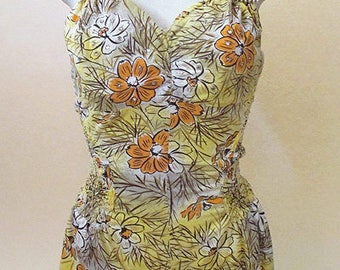 "Adorable 1950's vintage swimsuit playsuit with halter top and rhinestone accents by ""Rose Marie Reid""of California Size Small"