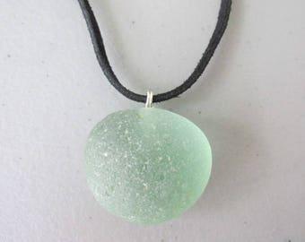 Sea Glass Necklace, Sea Glass Pendant, Beach Glass Pendant, Beach Glass Necklace, Sea Glass Jewelry, Beach Glass Jewelry, Thick Sea Glass